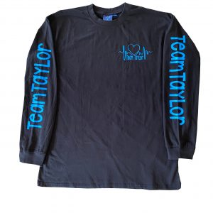 Black Team Taylor Long Sleeve Tops with Blue logo